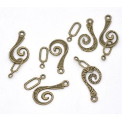 30 Sets Fermoirs Toggle Spirale Couleur bronze