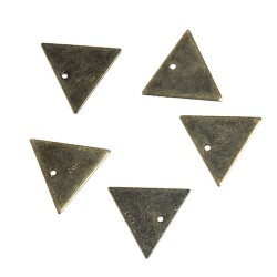 Breloque Triangle Bronze Antique 14mm x 12mm, 10 Pcs