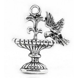 5 Pendentifs Breloques Fontaine Charms Oiseaux Animaux