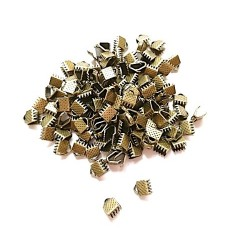300 Attaches Embouts Griffe Ruban Crimp Fin Couleur bronze  6 mm