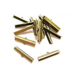 50 Attaches Embouts Griffe Ruban Crimp Fin Couleur bronze 35x 8mm