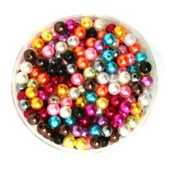 Lot de 100 Perles ronde nacré acrylique multicolore 6 mm