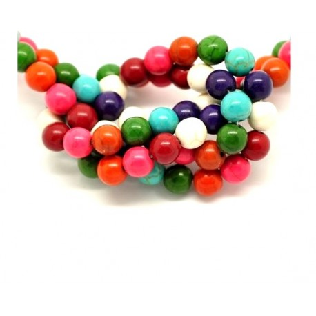 10 perles howlite multicolore en pierre 8 mm