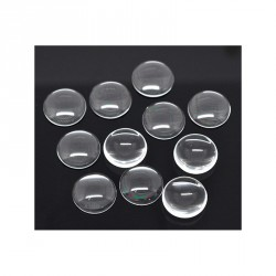 50 Cabochons dômes rond transparent 15 mm