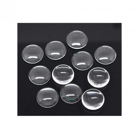 Lot de 10 cabochons dômes rond transparent 14 mm