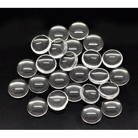 100 Cabochons loupes rond transparent 10 mm