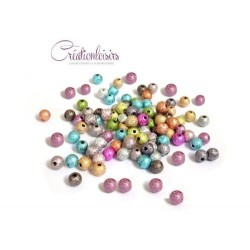 100 Perles Stardust 6 mm Multicolores