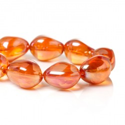 10 Perles en Verre Goutte d'eau Orange 17 x 14 mm