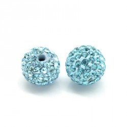 2 Perles Intercalaires Bleu Fond Strass Bleu 10mm