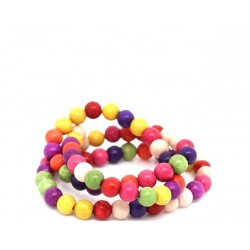 70 Perles howlite multicolore en pierre 6 mm