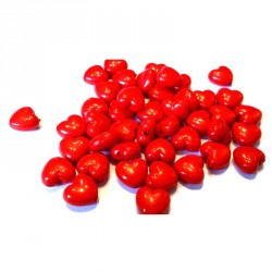 200 Perles Opaque Cœur Rouge Brillant 11x 10 mm