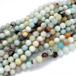 60 Perles en amazonite naturelle 6mm
