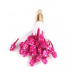 5 Pendentifs Franges en Mousse Franges Pompons Glands Doré rose 40 x 30 mm