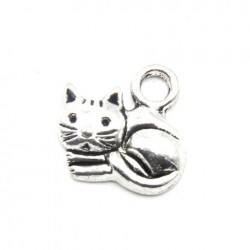 5 Pendentifs Breloques Charme chat 15 x 13 mm sans nickel