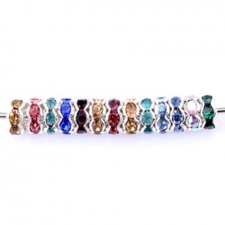 10 Perles intercalaire strass multicolore acrylique 8 mm