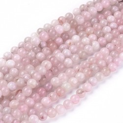 45 perles en quartz rose naturel, ronde, 8mm