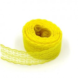 1M Ruban galon en dentelle tulle brodé jaune 45 mm-