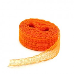 1 Ruban galon en dentelle tulle brodé orange 45 mm-