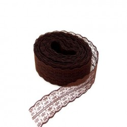 1 Ruban galon en dentelle tulle brodé marron 45 mm-