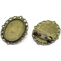 5 Supports broche épingle plateau pour cabochon bronze